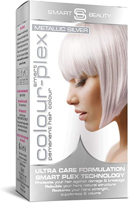 Smart Beauty Tinte de Pelo Permanente, Metálico Pastel Color con Nutritivo Nio-Active Plex Tratamiento Capilar, 150ML - Plateado, 150 Milliliters