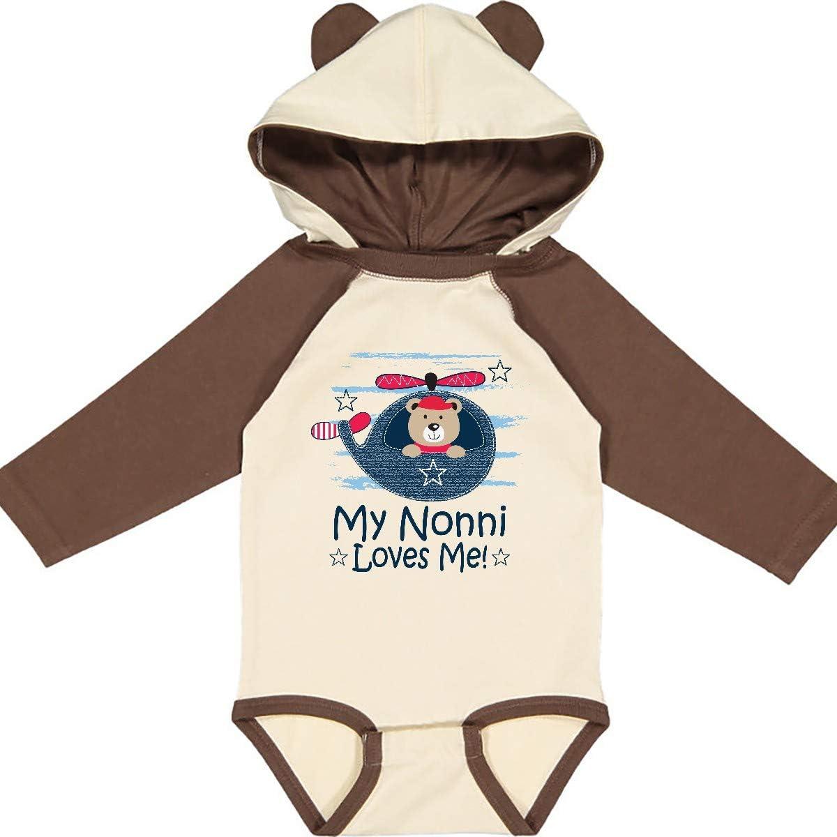 inktastic Nonni Loves Me Baby Bear Long Sleeve Creeper