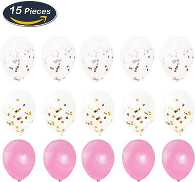 Xnuoyo Decorazione Festa di Compleanno Oro Rosa Stella a Sei Colori Palloncino pentagonale Banner Rosa Palloncino Nappa Materiale Pacchetto Festa di Nozze Sfondo Decorazione Set