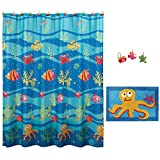 Allure Home Creations Fish Tails Bathroom Set - 70x72Inches Colorful Fabric Shower Curtain with 12 Hooks and Rug Mat Set