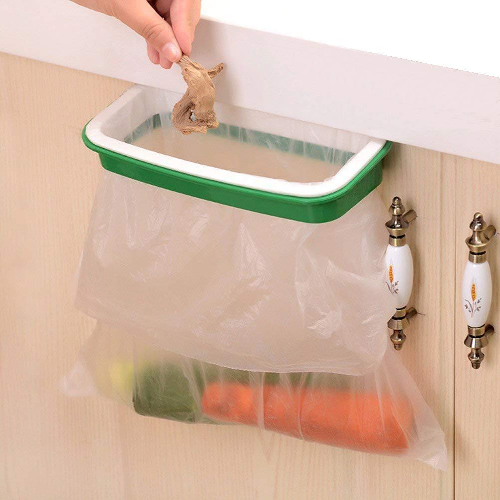 Lunies Hanging Trash Garbage Bag Holder for Kitchen Cupboard Green and White