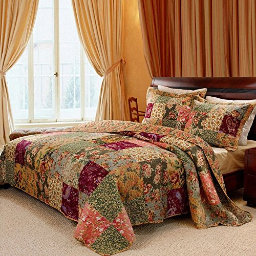 3 Piece Oversized Queen Bedspread Quilt Set to the Floor, French Country Patchwork Pattern, Floral Paisley Prints, Red Coral Moss Sage Green Mustard Yellow Golden Tan Navy Blue - Beautiful Colors! by Greenland
