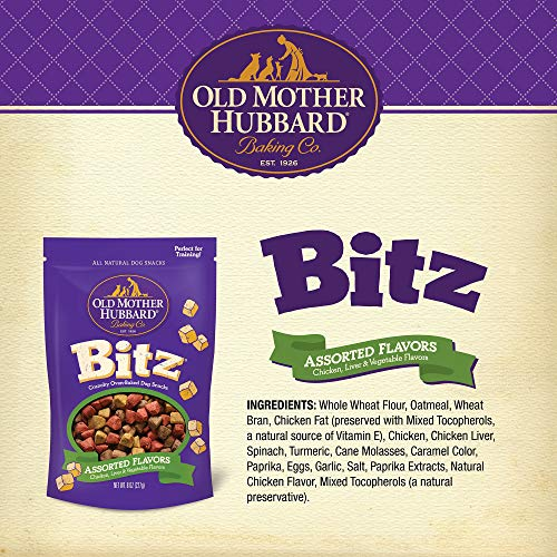 Old Mother Hubbard Bitz Natural Crunchy Dog Training Treats, Chicken, Liver & Veggies, 8-Ounce Bag