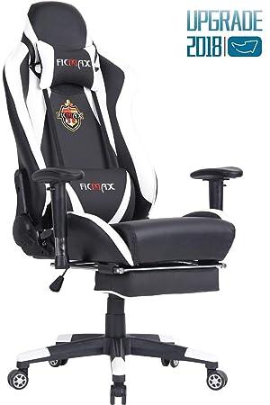 Ficmax Grande Taille Fauteuil De Bureau Chaise PC Gamer Ergonomique Avec Lombaire Coussin Massage Et