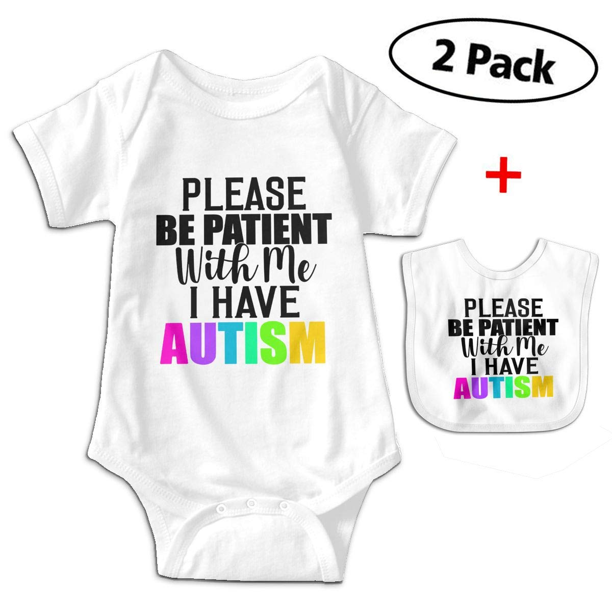 KAYERDELLE Be Patient with Me I Have Autism Babys Kids Short Sleeve Baby Climbing Clothes for 3-24 Months and Baby Bib