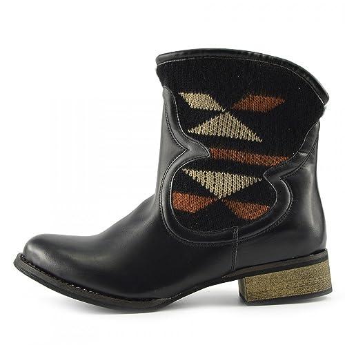 830eb229588808 Kick Footwear - Damen-Designer-Cowboy-Biker Wester Womens Mid-Calf Boots