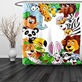 HAIXIA Shower Curtain Nursery Wild Jungle Animals Tropical Fauna Family Collection Happy Faces in Cartoon Style Multicolor