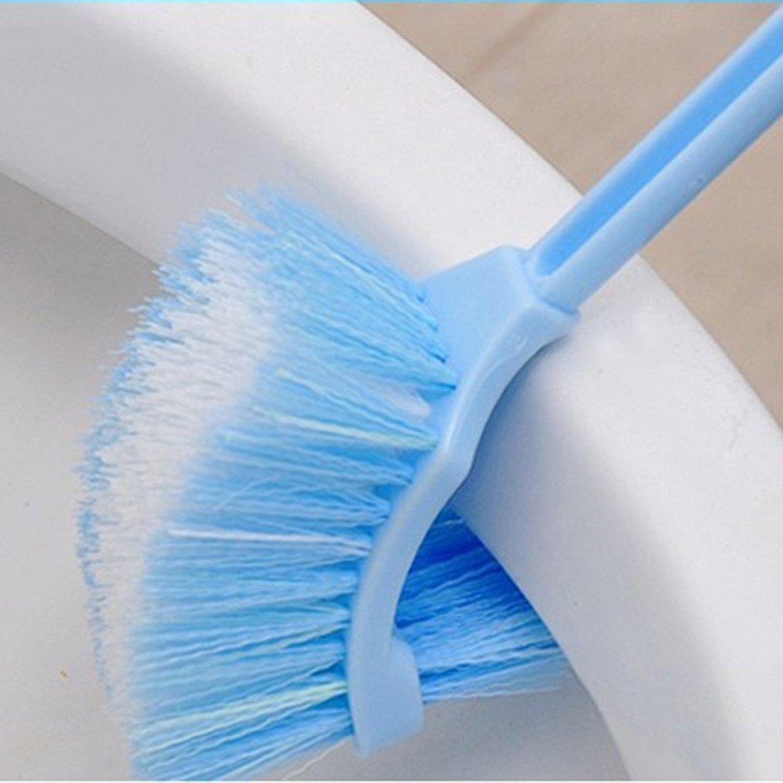 azul luwu inodoro bewegliches Cepillo pl/ástico Mango Cuenco Scrub Double Sided ba/ño cepillo de limpieza pl/ástico
