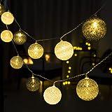 GIGALUMI String Lights Ball 20 LED Warm White Ø 6 cm Cotton Ball String Lights Decoración para bebé Dormitorio, Fiesta…