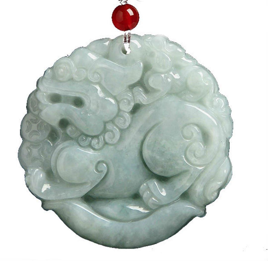 Jadeite Jade Hand Carved Pendant ''Pixiu'' ((Grade A Jade) Amulet Men's and Womens Jewelry