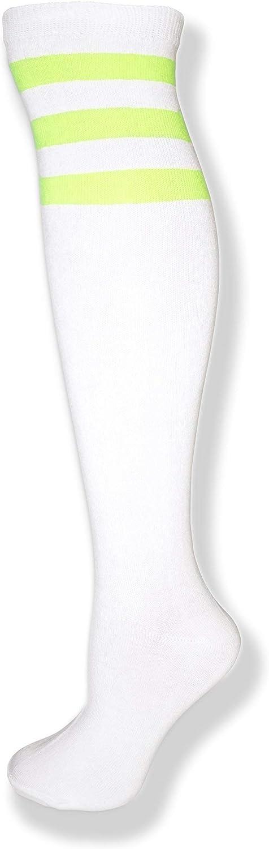 NeonNation Calze a tubo al ginocchio con tre strisce di colori diversi per donna