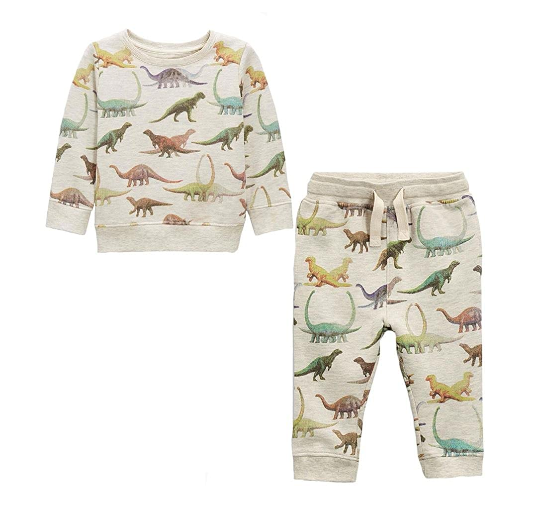 Coralup Kid's 2-Piece All Over Printing Dinosaur Set Little Boys' Long Sleeve Sweatershirt and Pants Set(18 Months-6 Years)