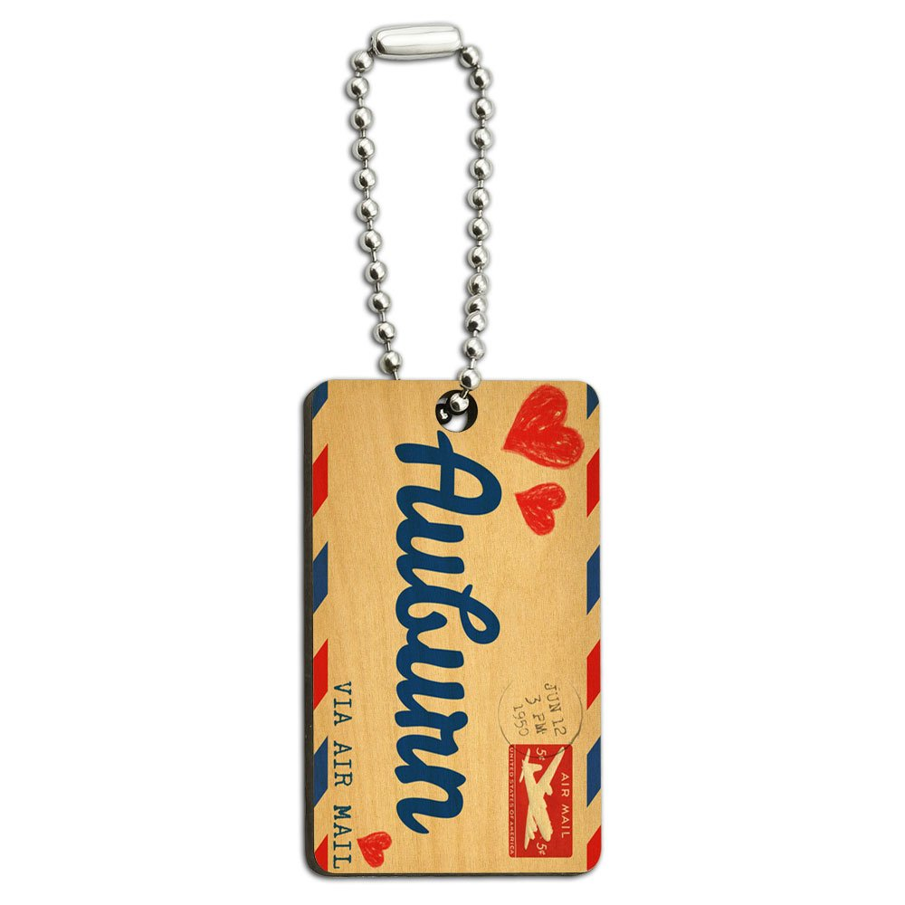 Air Mail Postcard Love for Auburn Wood Wooden Rectangle Key Chain