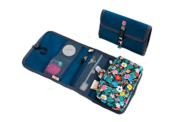 3a7a04d9a612 Floral Hanging Travel Toiletry Bag Roll-up Folding Makeup Cosmetic Bags  Organizer Large Carry on Case...