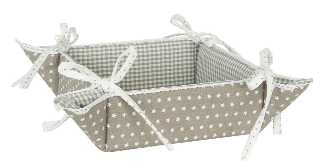Clayre & Eef TLS47N Twinkle Twinkle Little Star Bread Basket Basket Reversible Pattern 35x 35cm natural