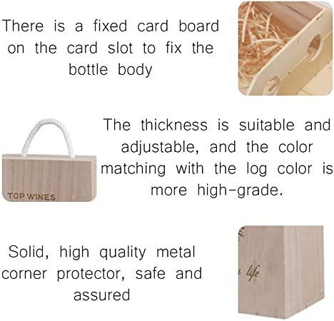 1-Pack Double Wine Bottle Wood Storage Gift Box with Handle for Birthday Party Housewarming 13.7 x 3.9 x 3.9 inches Anniversary Wedding Weisfe78 Wooden Wine Box