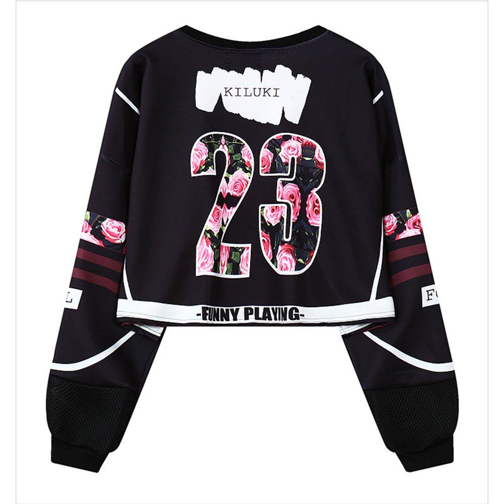 My Sky Women Teen Girls Digital Print Long Sleeve Crop Top Sweatshirt Black(Rose) by My Sky (Image #2)
