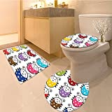 3 Piece Anti-slip mat set Tapestry Number Of Cute Smiling Illustration In Colorfu Dot Design Kids Nursery Prin Non Slip Bathroom Rugs