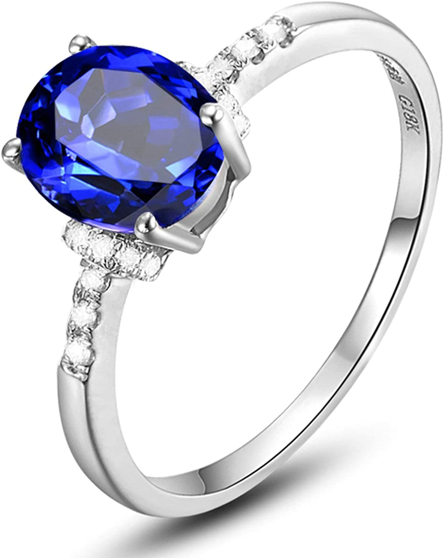 KnSam Joyas-Amor por Siempre&Anillo de Compromiso de Oro Blanco Anillo de Diamante 1.3CT de 18K de Oro Anillo de Plata de la Talla de 6,75-22