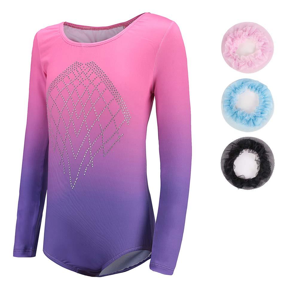 Sinoeem Leotards for Girls Gymnastics Long Sleeve Dancing Ballet Gymnastics Leotard for Girls 9-10 Years Gradient Pink+Purple Color Diamond Sparkle Design by Sinoeem