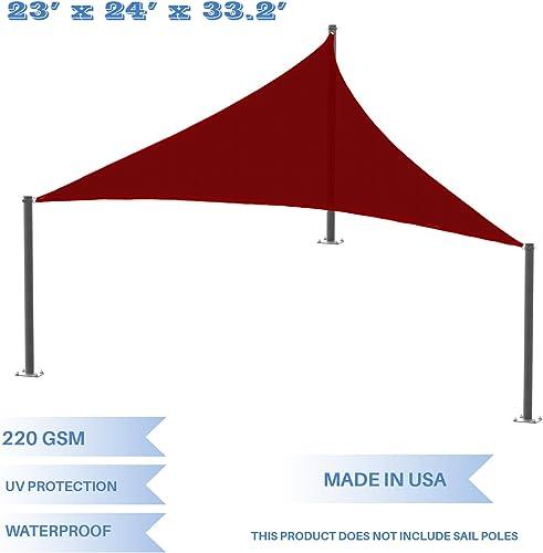 E K Sunrise 23 x 24 x 33.2 Waterproof Sun Shade Sail -Red Right Triangle UV Block Durable Awning Perfect for Canopy Outdoor Garden Backyard-Customized