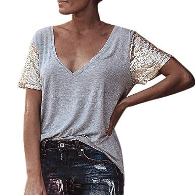 44c5845c513f41 Amlaiworld Moda Donna T-Shirt con Scollo A V Paillettes Manica Corta  Camicia da Donna Estiva Bluse Elegante Casuale Camicetta: Amazon.it:  Abbigliamento