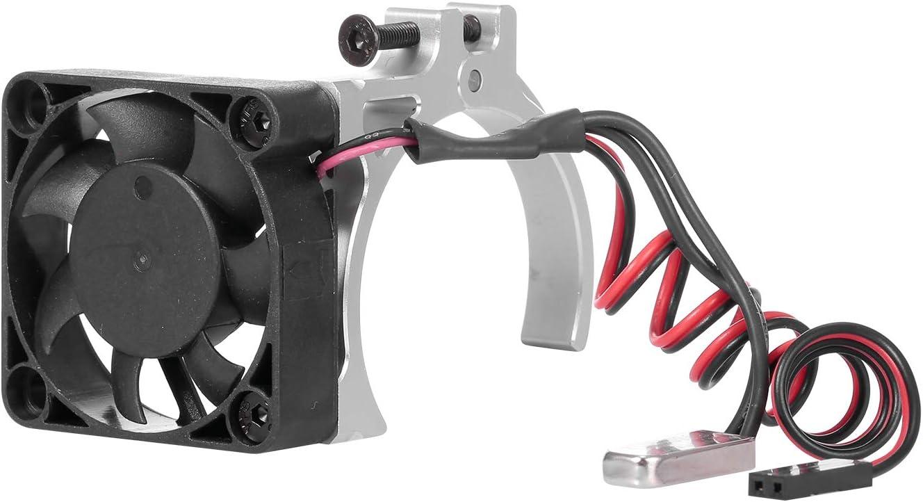 GoolRC RC Car Motor Heatsink Cooling Fan with Thermal Sensor CNC Aluminum Alloy Clamp Heatsink for 4268 4274 Motors 1/8 1/10 Buggy Cars (Silver)