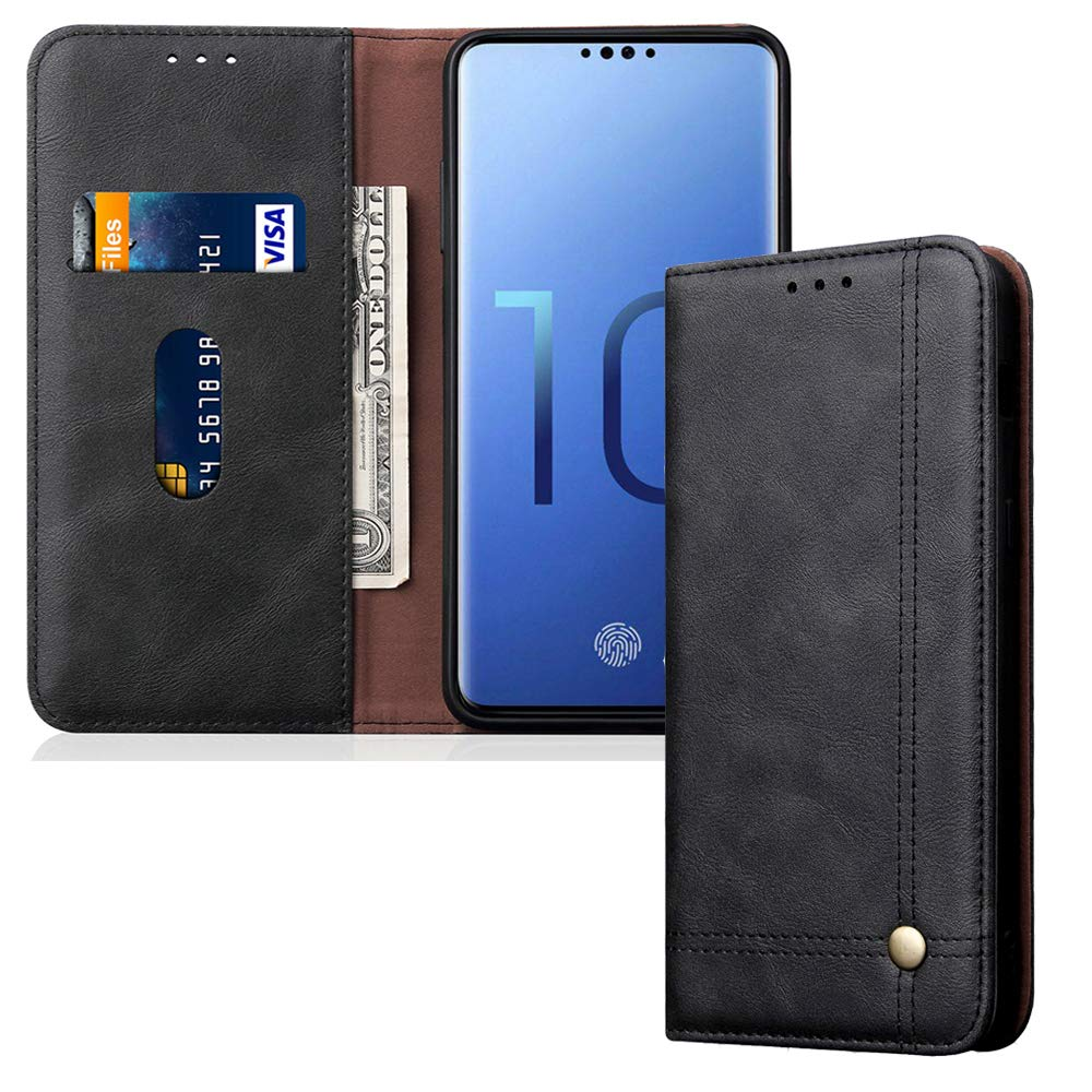 Leather Wallet Phone Case Kickstand Card Holder Flip Cover for Samsung Galaxy S10, Black