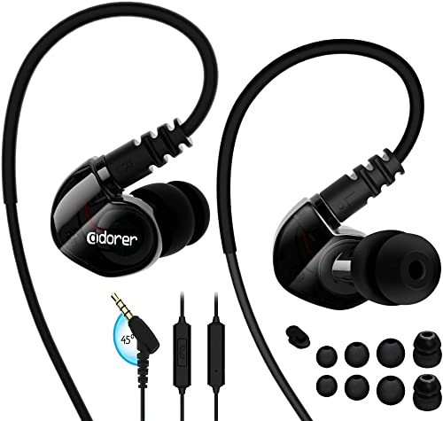 Adorer Sports Headphones RX6 Wired Earphones with Microphone and Memory Earhook, Running Earbuds for iPhone, iPad, Samsung, Smartphone, MP3 Player and More – Black