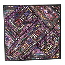 Indian Cushion Pillow Cover Colorful Embroidered Tapestry Wall Hanging (18x18inch)