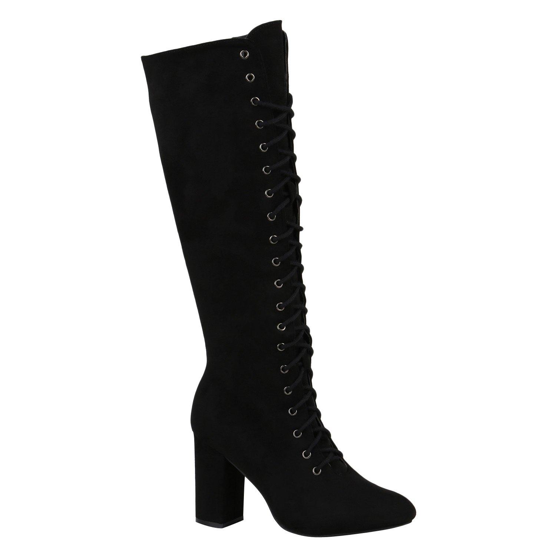 Stiefelparadies Damen Schnürstiefel mit Blockabsatz Profilsohle Flandell Schwarz Carlet