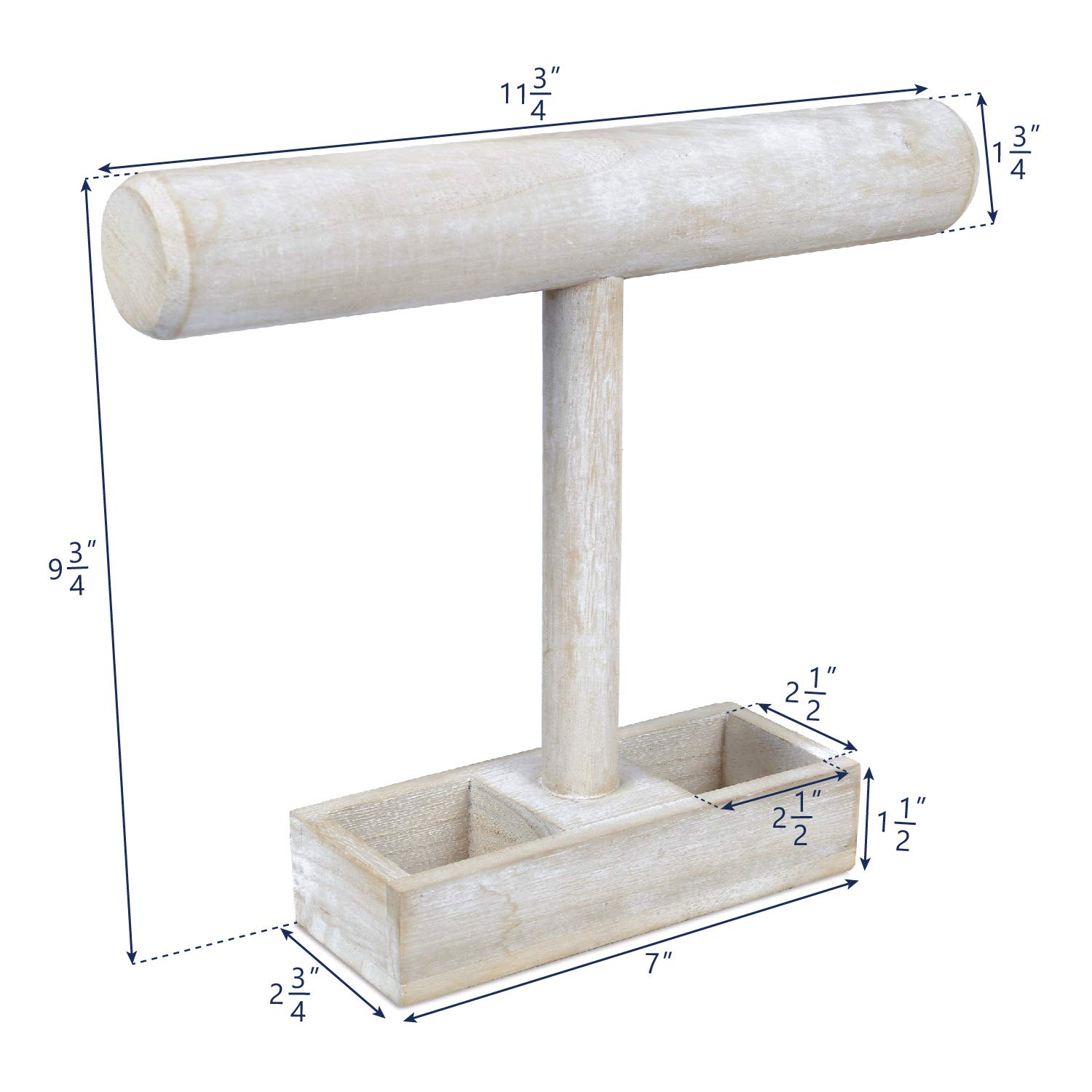 Jewelry Display Stand with a Storage Tray Mooca Wooden Wash White Bracelet Holder