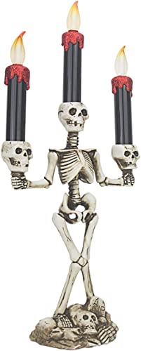 Evelyne GMT-10319 Triple LED Halloween Candles Flameless and Skeleton Candle Holder Stand for Skull Halloween Decoration and Haunted House Decor