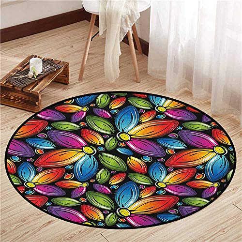 Bedroom Round Rugs,Floral,Colorful Flowers with Half a Set of Petals Rainbow Themed Design Vintage Inspiration,Sofa Coffee Table Mat,4'11