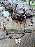 Jewelry Set ~ Clay Butterfly Pendant & Jasper Necklace, Bracelet & Earrings