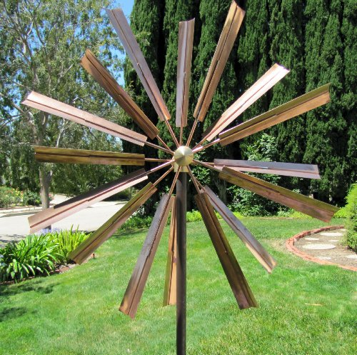 Spinner Copper (Stanwood Wind Sculpture Kinetic Copper Wind Sculpture, Double Windmill Spinner)