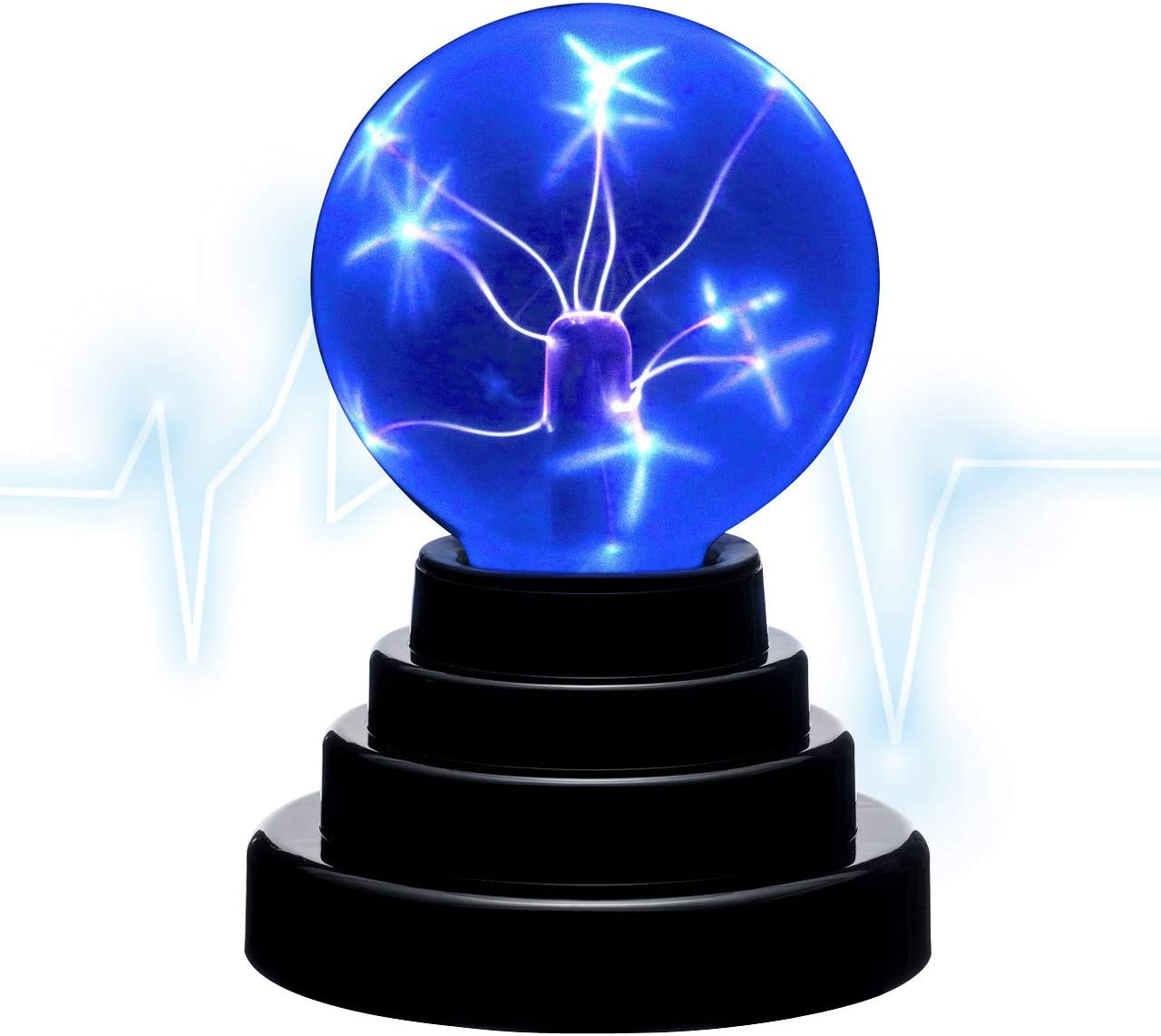 Mangsen Blue Light Plasma Ball 3 Inch Magic Touch Sensitive USB/Battery Powered Glass Nebula Static Electricity Sphere for Party/Bedroom/Decor