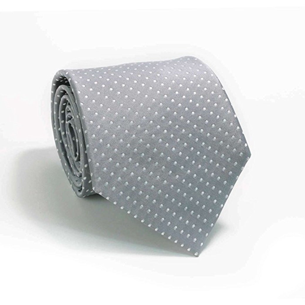 Mens Silver Grey Polka Dots 100/% Silk Neck Tie Set Cufflinks /& Hanky 1853N