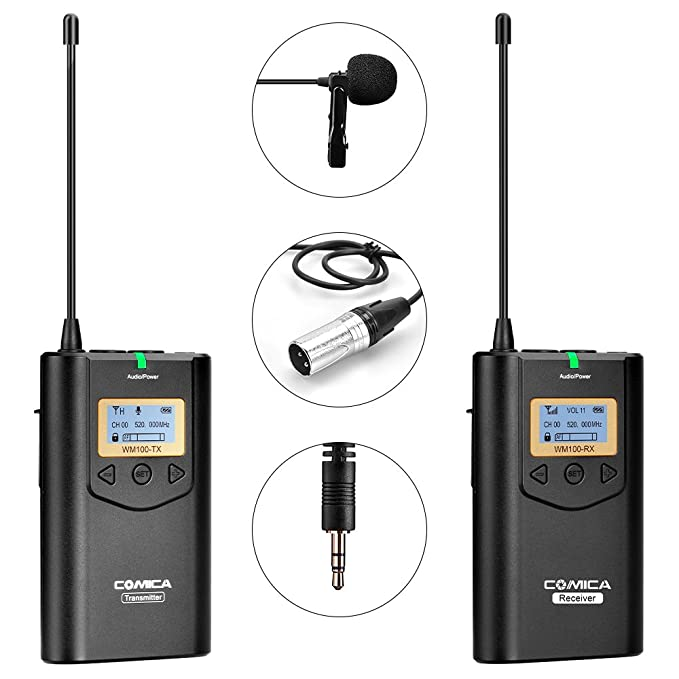 Comica CVM-WM100 UHF 48 Channels Professional Omnidirectional Wireless Lavalier Microphone System for Canon 5D II/5D III, Canon 6D, Panasonic GH5/GH4, Camcorder,Smartphone(328-foot Range)