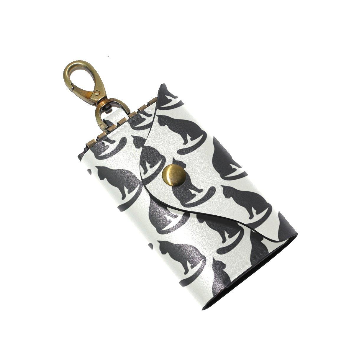 DEYYA Animal Cat Leather Key Case Wallets Unisex Keychain Key Holder with 6 Hooks Snap Closure