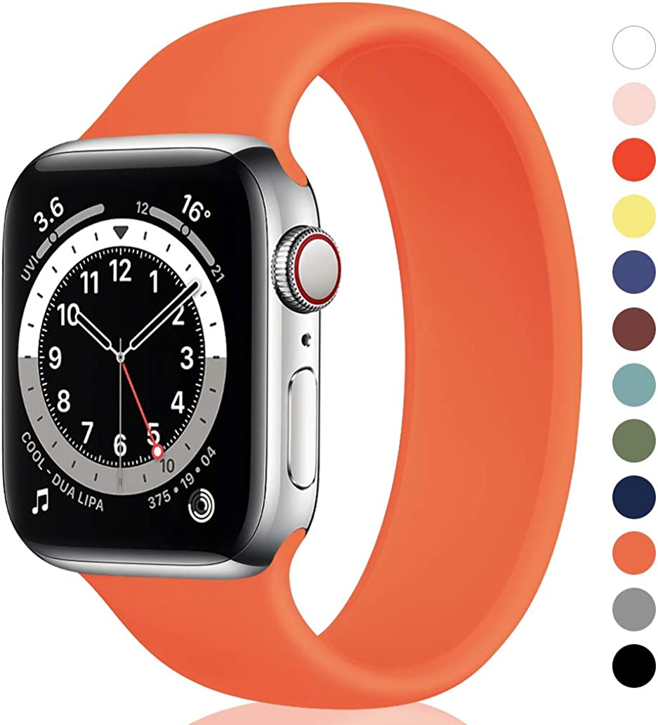 Unnite Stretchy Solo Loop Bands Compatible for Apple Watch Band 38mm 40mm 42mm 44mm, Silicone Sports Band Elastic Replacement Wristband for iWatch Series SE/6/5/4/3/2/1 Women Men