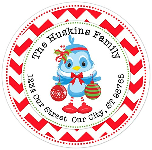Christmas Address Stickers, CUSTOMIZED Sweet Bluebird Christmas Labels, 2.5 inch round (12 -
