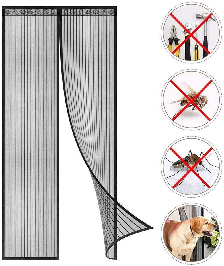 Fliegengitter T/ür Insektenschutz Magnet Fliegenvorhang 80 x 195 cm Kinderleichte Klebemontage Ohne Bohren f/ür Wohnzimmer Balkont/ür Terrassent/ür