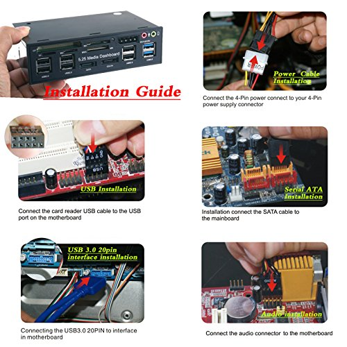 WANLONGXIN WLX-525E 5.25 Inch PC Dashboard Media Front Panel Audio, With SATA e-SATA Dual USB 3.0 6 port USB 2.0 Five-in-one Card Reader (SD/MMC / CF/MS / TF / M2) by WANLONGXIN (Image #5)