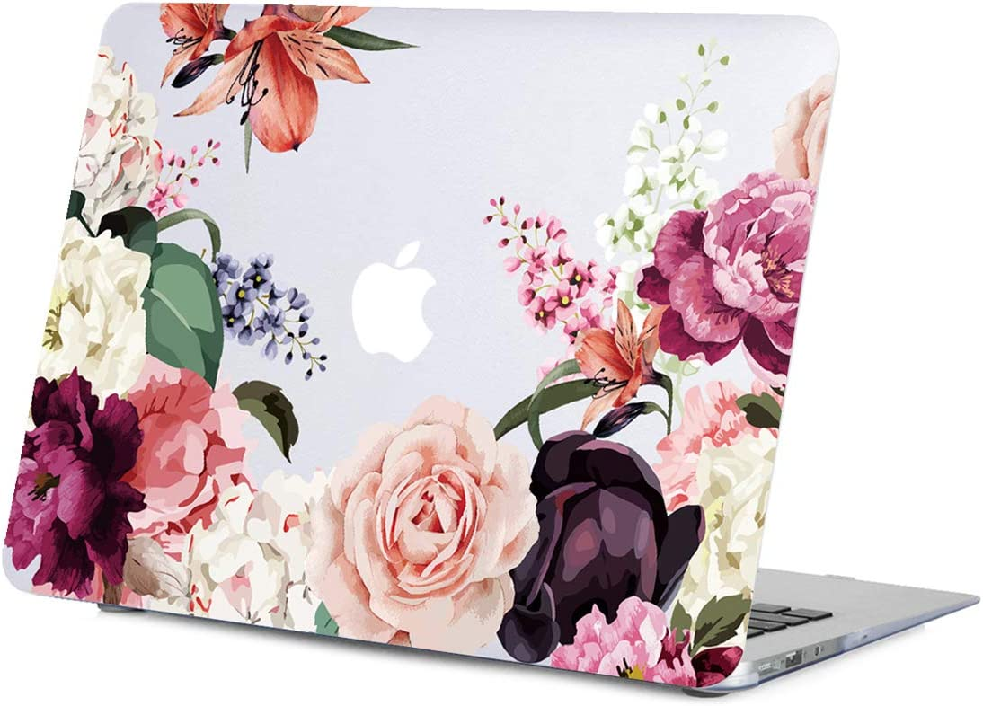 Lapac MacBook Air 13.3 Inch Case Old Version 2010-2017 Release, Model A1466 A1369, Rose Flower MacBook Air 13.3 in Clear Case, Hard Shell Case Cover with Keyboard Cover