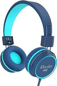 Elecder i42 Kids Headphones, Safe Volume Limited 85dB, Foldable Adjustable On Ear Headphones, 3.5mm Jack Compatible with iPad, Cellphones, Computer, MP3/4 Kindle Tablet Airplane School (Blue/Teal)