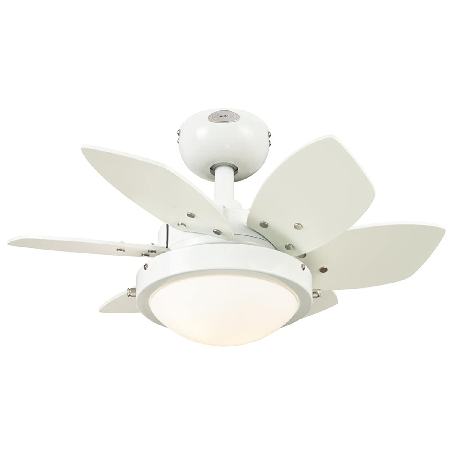 Westinghouse 7247100 Quince Two-Light Reversible Six-Blade Indoor Ceiling Fan, 24-Inch, White Finish with Opal Frosted Glass