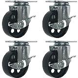 """4 All Steel Swivel Plate Caster Wheels w Brake Lock Heavy Duty High-gauge Steel 1500lb total capacity (3"""" With brake)"""