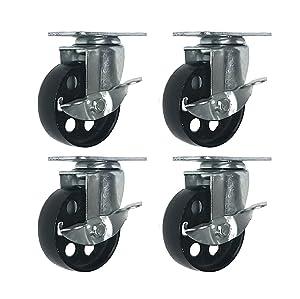 """4 All Steel Swivel Plate Caster Wheels w Brake Lock Heavy Duty High-Gauge Steel (3"""" with Brake)"""