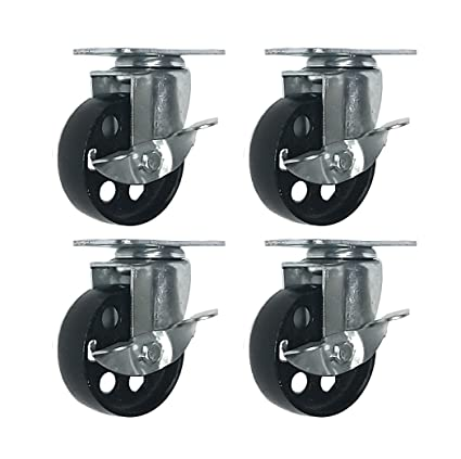 8 Lot All Steel Metal Swivel Plate Caster Heavy Duty 3-inch Wheel